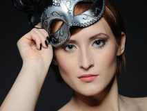 Beautiful woman in party carnival mask Royalty Free Stock Photos