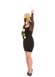 Beautiful woman in party dress making a toast with champagne. Royalty Free Stock Photos