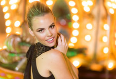 Beautiful woman in a party venue Stock Images