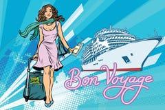 Beautiful woman passenger Bon voyage cruise ship Royalty Free Stock Photo