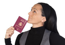 Beautiful woman with a passport thinking Stock Photography