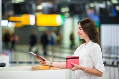 Beautiful woman with passports and boarding passes Stock Photos