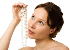 Beautiful woman with pearl beads Stock Image