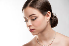 Beautiful woman with pearl necklace Stock Image