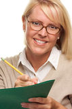 Beautiful Woman with Pencil and Folder Royalty Free Stock Image