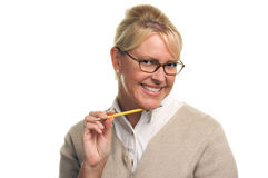 Beautiful Woman with Pencil on Her Chin royalty free stock photo