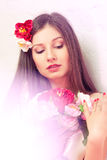 Beautiful woman with peonies Royalty Free Stock Photography