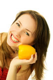 Beautiful woman with a pepper Stock Photography