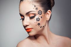 Beautiful woman with perfect art make up Royalty Free Stock Photography