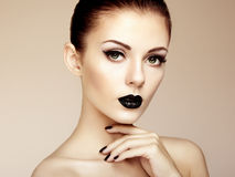 Beautiful woman with perfect makeup. Beauty portrait. Fashion photo Stock Images