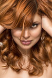 Beautiful woman with perfect skin and beauty hairstyle royalty free stock images