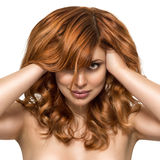 Beautiful woman with perfect skin and beauty hairstyle stock photo