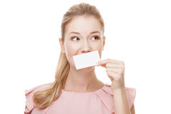Beautiful woman with perfect skin holding empty blank card Stock Photos