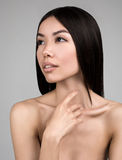 Beautiful Woman With Perfect Skin Portrait Isolated On Gray Background Royalty Free Stock Photo