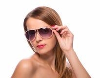 Beautiful woman with perfect skin wearing sunglasses Stock Photos