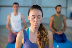 Beautiful woman performing yoga Royalty Free Stock Photography