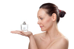 Beautiful woman with perfume Stock Image