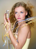 Beautiful woman with perfume bottle Royalty Free Stock Image