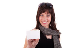Beautiful woman person with blank business card Stock Image