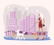 Beautiful woman pet owner royalty free illustration