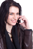 Beautiful woman on the phone. Isolated on white background Royalty Free Stock Photography