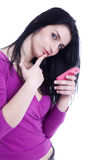 Beautiful woman on the phone. Isolated on white background Royalty Free Stock Images