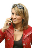 A beautiful Woman with phone. A beautiful Woman with a black phone Stock Photo