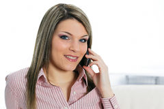 Beautiful woman on the phone Stock Images