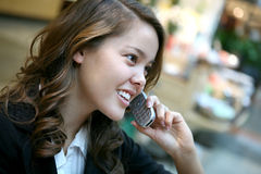Beautiful Woman on the Phone stock photography