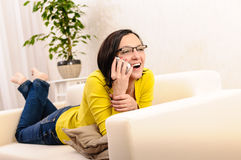Beautiful woman phone chat laughing Royalty Free Stock Image
