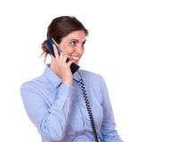Beautiful woman on phone smiling while talking Stock Photography