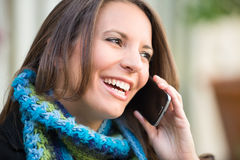 Beautiful Woman on Phone Royalty Free Stock Images