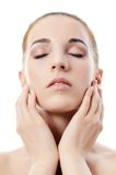 Photo of the beautiful woman with a natural make-up. Care of a skin. Spa Royalty Free Stock Images