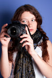 Beautiful woman-photographer Royalty Free Stock Photography
