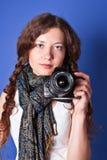 Beautiful woman-photographer Royalty Free Stock Photo