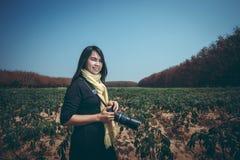 Beautiful woman photographer Stock Images
