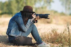 Beautiful woman photographer Royalty Free Stock Image