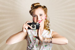 Beautiful Woman Photographer Holding Retro Camera Royalty Free Stock Images