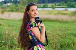 Beautiful woman photographer Royalty Free Stock Photo