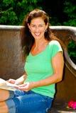Beautiful woman on a picnic. Stock Photo