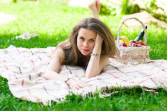 Beautiful woman on the picnic Royalty Free Stock Photography