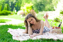 Beautiful woman on the picnic Stock Image