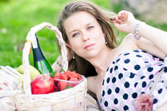 Beautiful woman on the picnic Royalty Free Stock Image