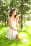 Beautiful woman on picnic on nature. Beautiful Young girl Outdoo Stock Photos