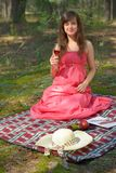 Beautiful woman at picnic Royalty Free Stock Photo