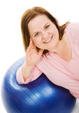Beautiful Woman on Pilates Ball Stock Images