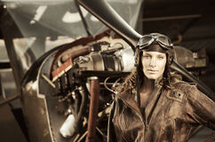 Beautiful woman pilot: vintage photo Royalty Free Stock Photo