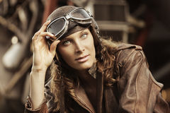 Beautiful woman pilot: vintage photo Stock Image