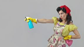 Beautiful woman with cleaning accessory . Royalty Free Stock Image