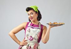 Beautiful woman  with yummy biscuits. Stock Photos